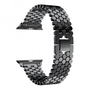 Pulseira Para Apple Watch Metal Escama de Peixe - Preto 42mm
